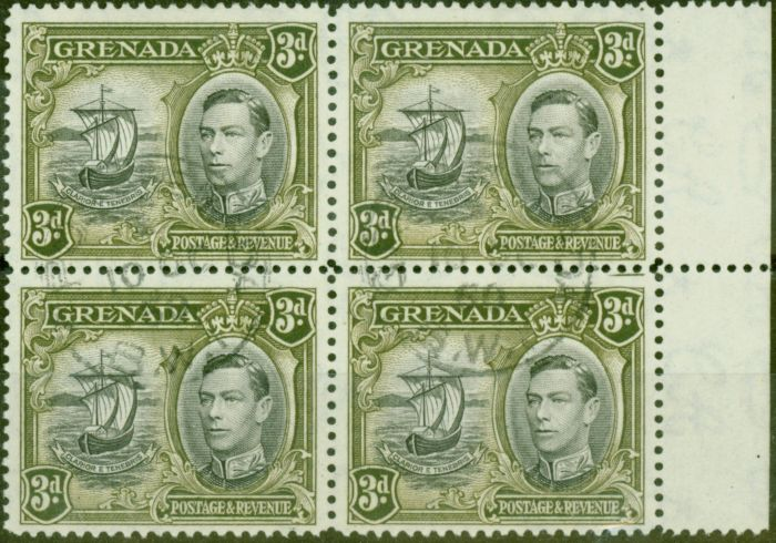 Old Postage Stamp from Grenada 1950 3d Black & Brown-Olive SG158ba Colon Flaw in a V.F.U Block of 4