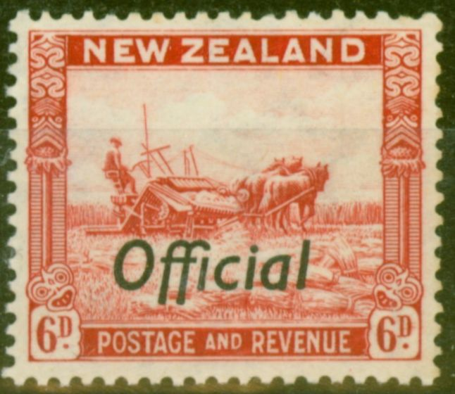 Valuable Postage Stamp from New Zealand 1937 6d Scarlet SG0127 P.13.5 x 14 Fine MNH