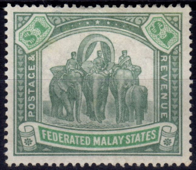 Collectible Postage Stamp from Fed Malay States 1900 $1 Green & Pale Green SG23 Wmk CC Fine Mtd Mint