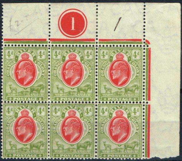 Valuable Postage Stamp from Orange River Colony 1903 4d Scarlet & Sage-Grn SG144 Fine MNH Corner Plate Block