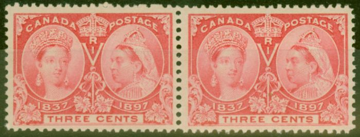 Collectible Postage Stamp from Canada 1897 3c Carmine SG126 V.F MNH Pair.