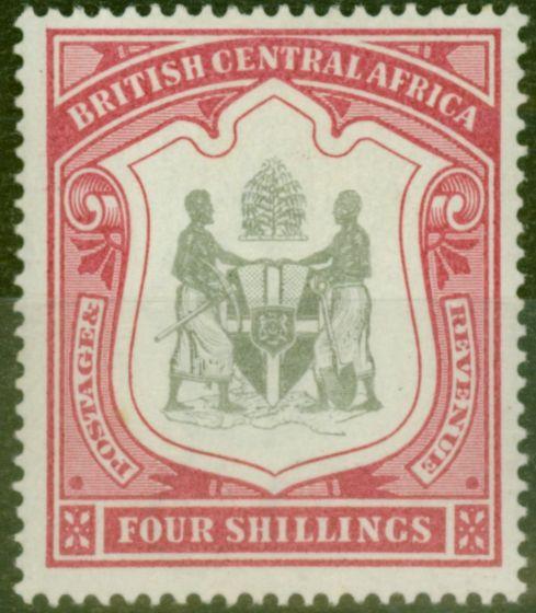 Old Postage Stamp from B.C.A Nyasaland 1897 4s Black & Carmine SG50 V.F MNH