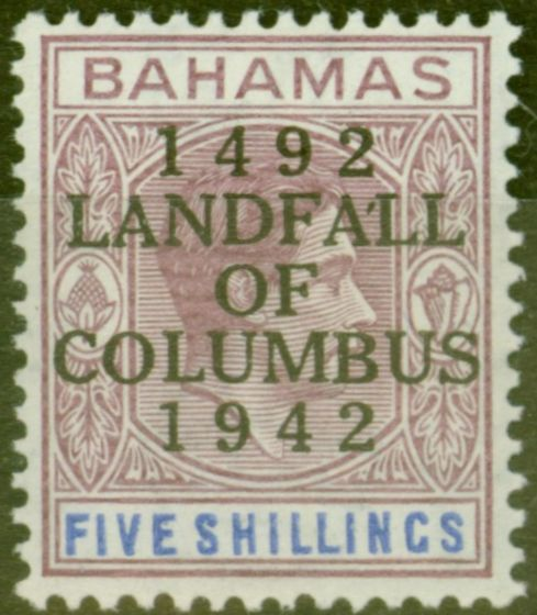 Old Postage Stamp from Bahamas 1942 5s Reddish-Lilac & Blue SG174var Apostrophe Flaw Fine Very Lightly Mtd Mint