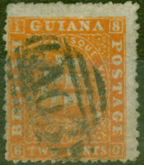 Old Postage Stamp from British Guiana 1862 2c Orange SG43 P.12  Good Used