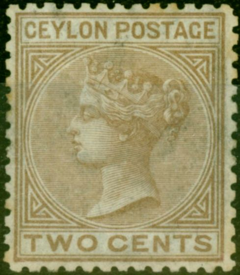 Collectible Postage Stamp from Ceylon 1872 2c Brown SG136 P.12.5 Fine Mtd Mint Example of Rare Stamp