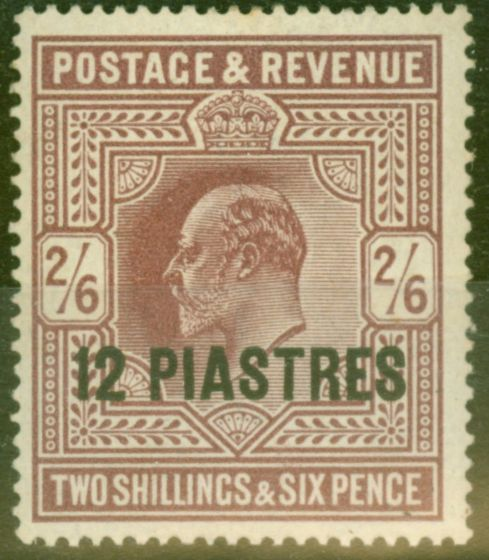 Rare Postage Stamp from British Levant 1902 12pi on 2s6d Dull Purple SG11b Chalk Paper Fine MNH