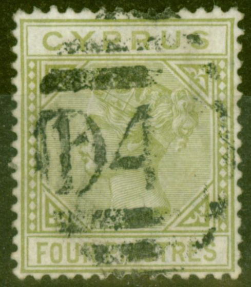 Collectible Postage Stamp from Cyprus 1881 4pi Pale OLive Green SG14 Fine Used