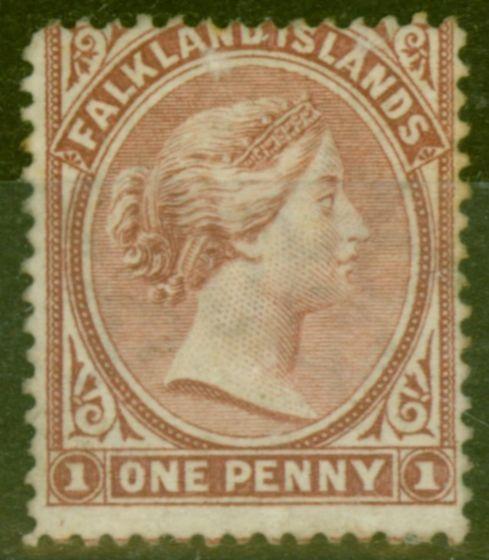 Old Postage Stamp from Falkland Islands 1887 1d Brownish Claret SG8 Good Mtd Mint