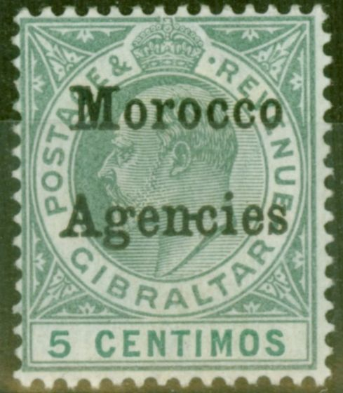 Old Postage Stamp from Morocco Agencies 1904 5c Grey-Green & Green SG17c Hyphen Between N-C V.F Lightly Mtd Mint