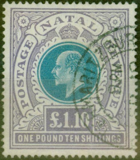 Old Postage Stamp from Natal 1902 £1,10s Green & Violet SG143 V.F.U