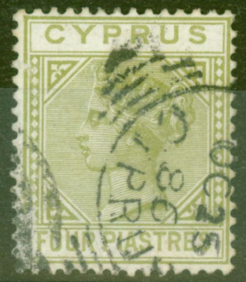 Rare Postage Stamp from Cyprus 1883 4pi Pale-Olive Green SG20 Fine Used