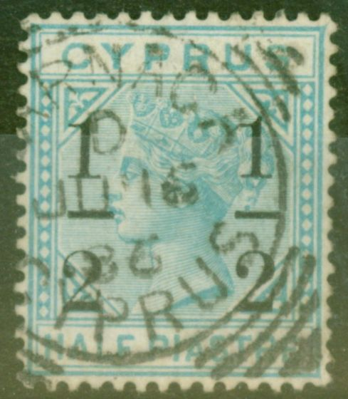 Rare Postage Stamp from Cyprus 1886 1/2 on 1/2pi Emerald Green SG28 Fine Used