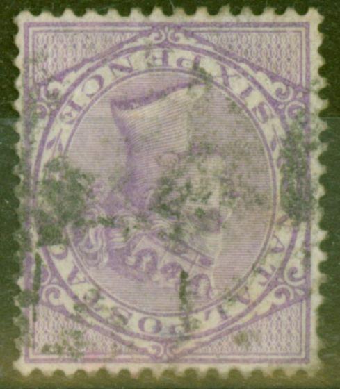 Rare Postage Stamp from Natal 1874 6d Brt Reddish Violet SG70w Wmk Inverted Good Used