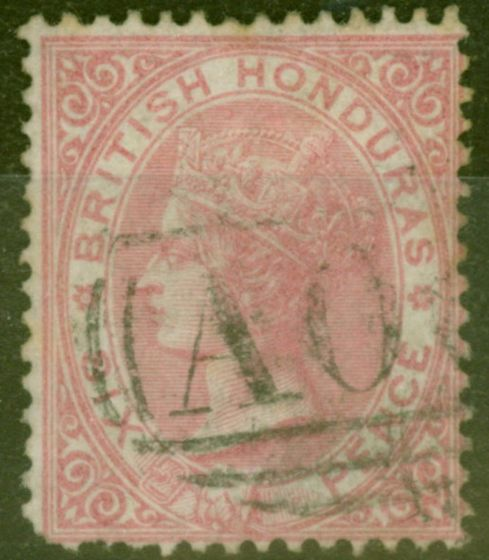 Old Postage Stamp from British Honduras 1865 6d Rose SG3 Ave Used