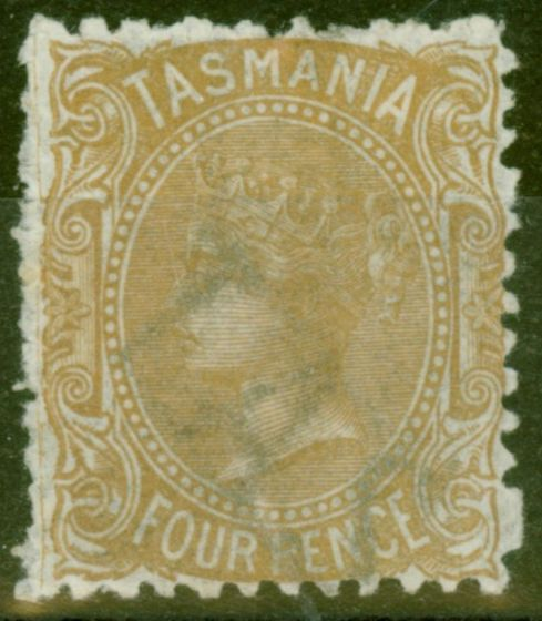 Valuable Postage Stamp from Tasmania 1871 4d Buff SG153 P.12 Fine & Fresh Mtd Mint Large Part O.G.