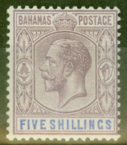 Valuable Postage Stamp from Bahamas 1924 5s Dull Purple & Blue SG124 Fine & Fresh Very Lightly Mtd Mint