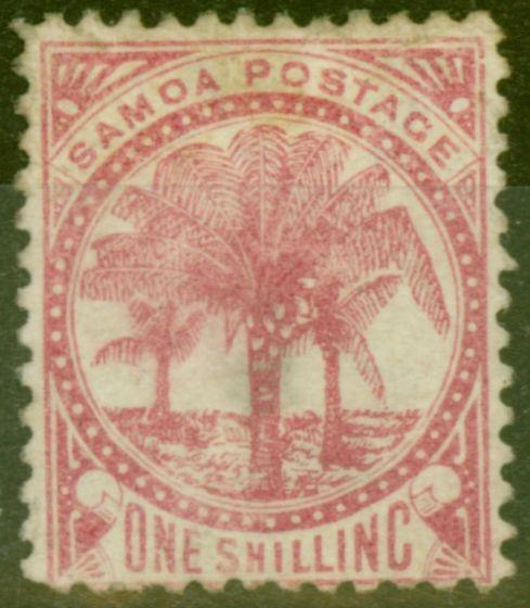Old Postage Stamp from Samoa 1886 1s Rose SG25 Good Mtd Mint