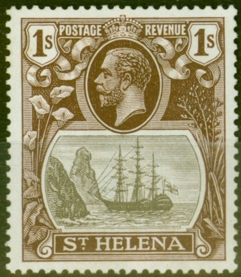 Valuable Postage Stamp from St Helena 1922 1s Grey & Brown SG106b Torn Flag V.F Lightly Mtd Mint