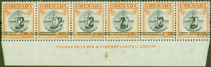 Old Postage Stamp from Grenada 1965 2 on $1.50 Black & Orange Var Setting A & B in a V.F MNH Imprint Strip of 6