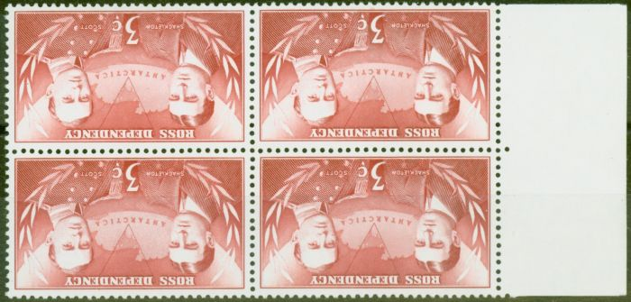 Collectible Postage Stamp from Ross Dependency 1967 3c Carmine-Red SG6w Wmk Inverted V.F MNH Block of 4