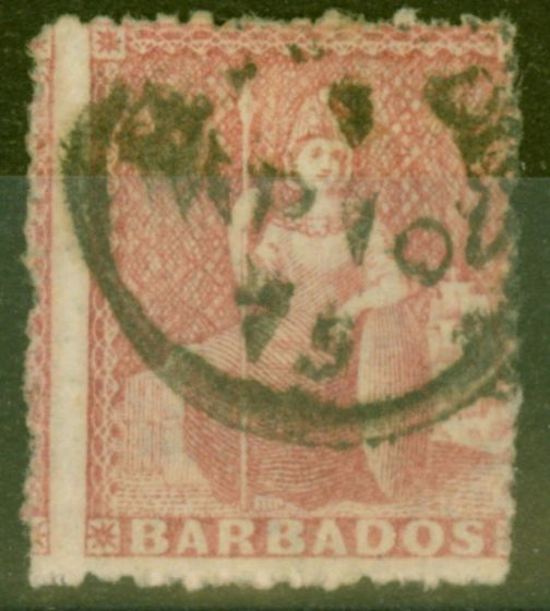 Rare Postage Stamp from Barbados 1871 (4d) Dull Rose-Red SG49 Fine Used