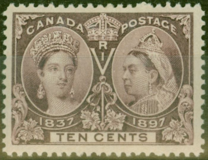 Rare Postage Stamp from Canada 1897 10c Purple SG131 Fine Mtd Mint
