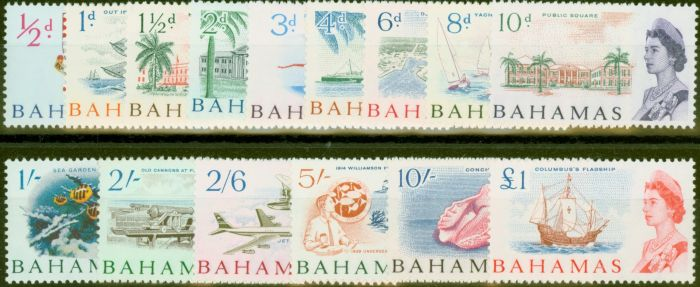 Valuable Postage Stamp from Bahamas 1965 set of 15 SG247-261 V.F MNH