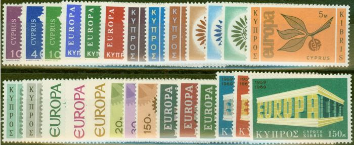 Old Postage Stamp from Cyprus 1962-69 Europa sets x 9 SG206-333 V.F Lightly Mtd Mint