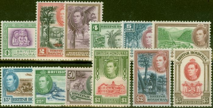 Old Postage Stamp from British Honduras 1938 set of 12 SG150-161 Fine Very Lightly Mtd Mint