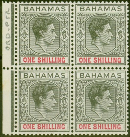 Valuable Postage Stamp from Bahamas 1944 1s Grey-Black & Brt Crimson SG155c Ord Paper Fine MNH Block of 4