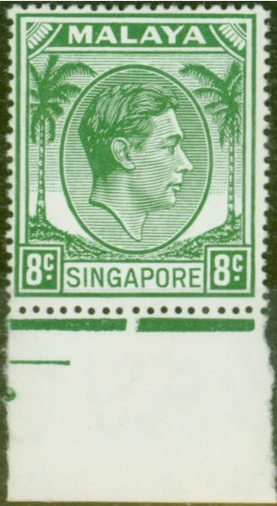 Collectible Postage Stamp from Singapore 1952 8c Green SG21a Fine Lightly Mtd Mint