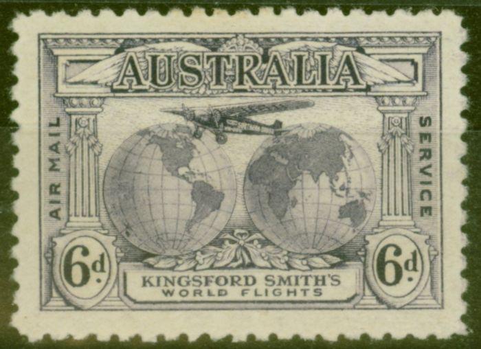 Rare Postage Stamp from Australia 1931 6d Violet SG123a Re-Entry V.F Lightly Mtd Mint
