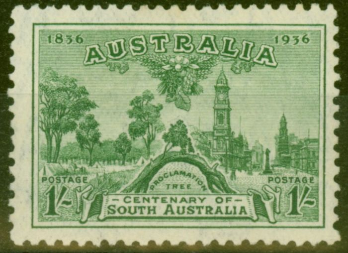 Collectible Postage Stamp from Australia 1936 1s Green SG163 Fine Lightly Mtd Mint
