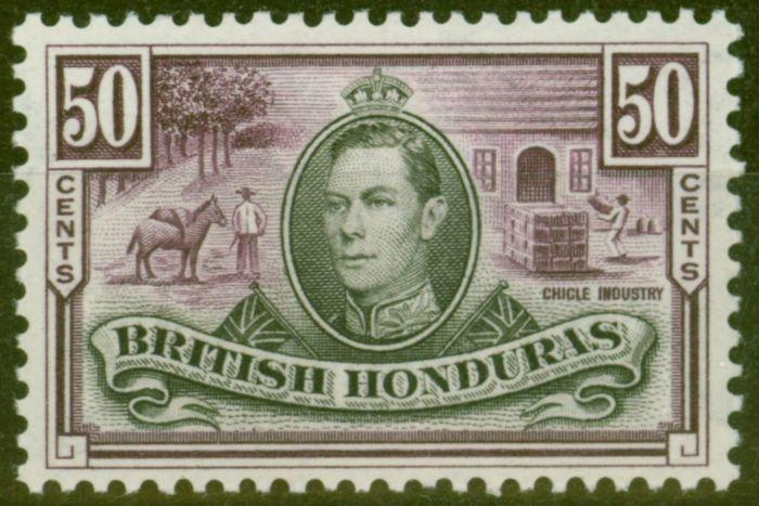Old Postage Stamp from British Honduras 1938 50c Black & Purple SG158 V.F Very Lighlty Mtd Mint