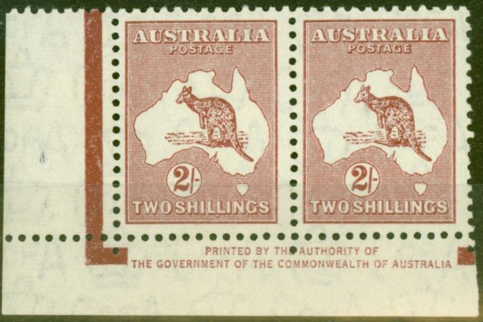 Old Postage Stamp from Australia 1935 2s Maroon SG134 V.F MNH Imprint Pair