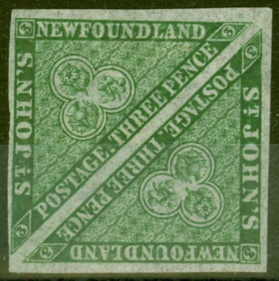 Collectible Postage Stamp from Newfoundland 1868 3d Dp Green SG11 Fine Mtd Mint Pair 4 Good - Large Margins