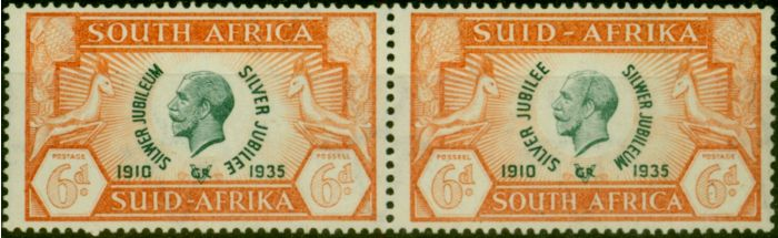 Valuable Postage Stamp from South Africa 1935 6d Green & Orange SG68a Cleft Skull Fine Lightly Mtd Mint