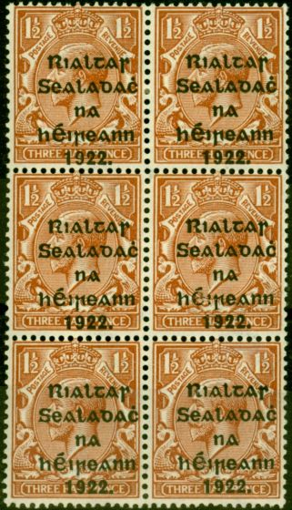 Collectible Postage Stamp from Ireland 1922 1 1/2d Red-Brown SG32 Fine MNH & Mtd Mint Block of 6