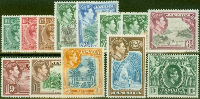 Rare Postage Stamp from Jamaica 1938 set of 13 SG121-133 V.F Very Lightly Mtd Mint