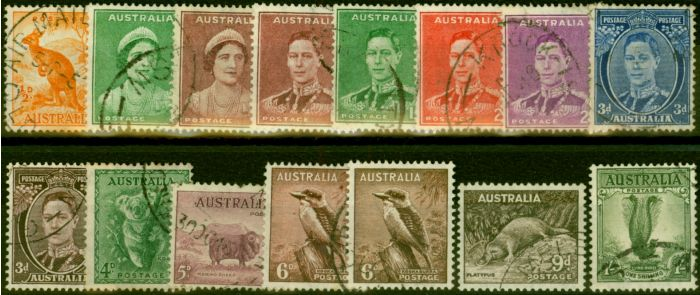 Valuable Postage Stamp from Australia 1938-44 Set of 15 SG179-192 Fine Used