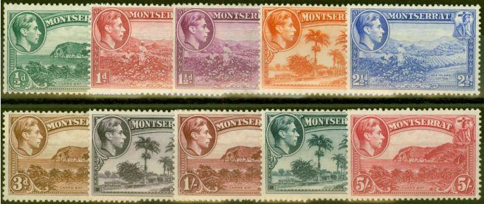 Rare Postage Stamp from Montserrat 1938 Perf 13 set of 10 SG101-110 Fine Lightly Mtd Mint CV £233