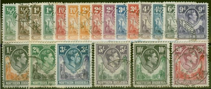 Old Postage Stamp from Northern Rhodesia 1938-52 set of 21 SG25-45 Fine Used