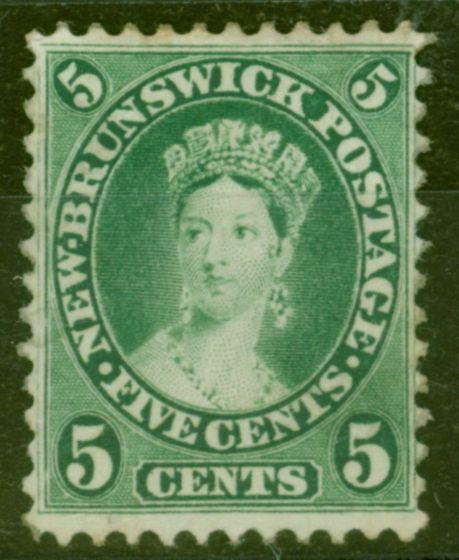 Old Postage Stamp from New Brunswick 1860 5c Sap-Green SG16 Fine & Fresh Mtd Mint