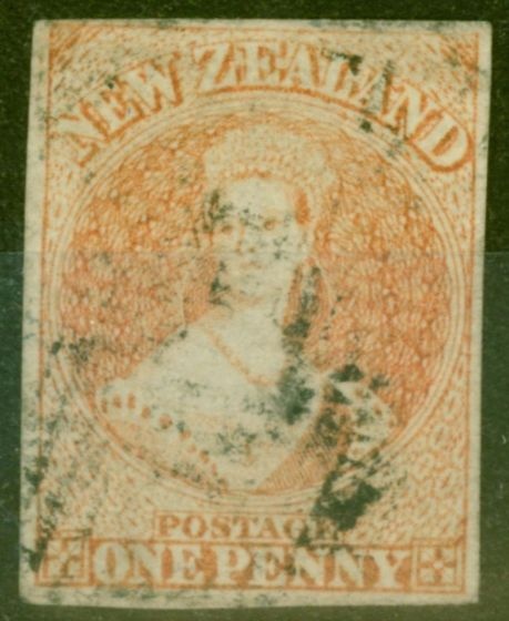 Collectible Postage Stamp from New Zealand 1858 1d Dull Orange SG8 Fine Used 4 Clear Even Margins