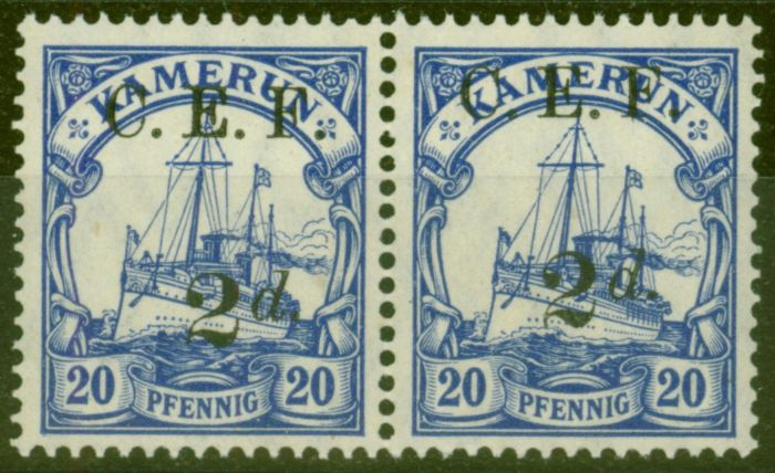 Rare Postage Stamp from Cameroon 1915 2d on 20pf Ultramarine SGB4a Surch Double One Albino V.F MNH in Pair with Normal