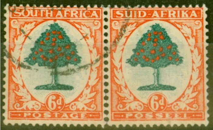 Collectible Postage Stamp from South Africa 1937 6d Green & Vermilion SG61 (I) Fine Used