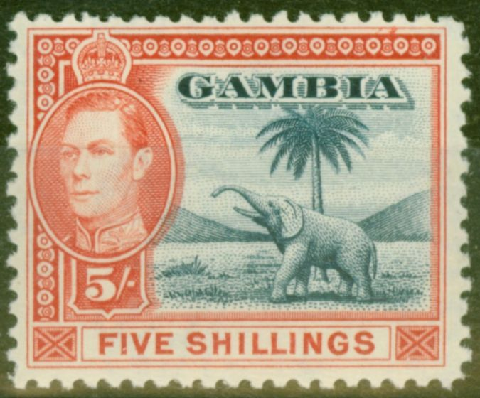 Collectible Postage Stamp from Gambia 1938 5s Blue & Vermilion SG160 Fine Very Lightly Mtd Mint