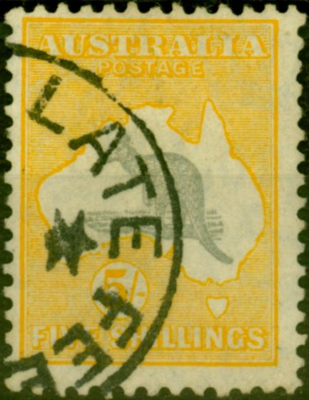 Old Postage Stamp from Australia 1932 5s Grey & Yellow SG135 Fine Used (2)