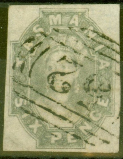 Valuable Postage Stamp from Tasmania 1860 6d Grey SG45 Fine Used 4 Clear Margins