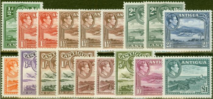 Valuable Postage Stamp from Antigua 1938-51 Extended set of 18 SG98-109 All Shades V.F Lightly Mtd Mint CV £250